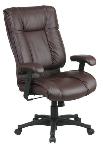 Office Star Work Smart EX9382-4 Deluxe High Back Executive Deluxe Coated Burgundy Leather Chair with Pillow Top Seat and Back - Peazz Furniture