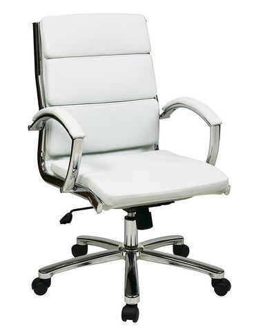Office Star Work Smart FL5388C-U11 Mid Back Executive White Faux Leather Chair - Peazz Furniture