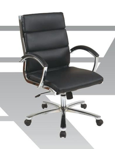 Office Star Work Smart FL5388C-U22 Mid Back Executive Smoke Faux Leather Chair - Peazz Furniture