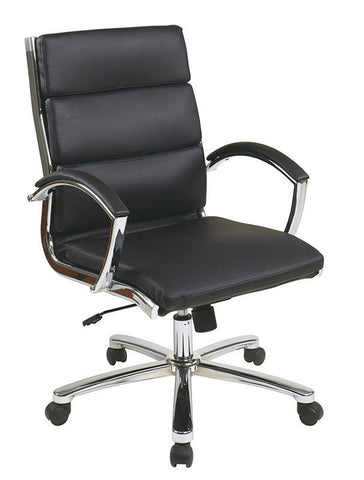 Office Star Work Smart FL5388C U6 Mid Back Executive Black Faux Leather  Chair   Peazz