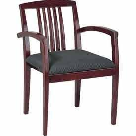 Office Star OSP Furniture KEN-99-MAH Leg Chair With Wood Slat Back & Mahogany Finish (4 Pack) - Peazz Furniture