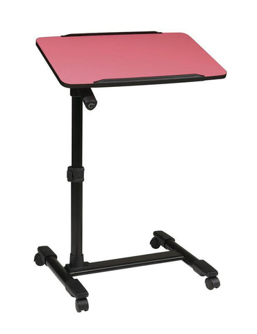 Office Star OSP Designs LT733-261 Mobile Laptop Cart with Adjustable Pink Top - Peazz Furniture