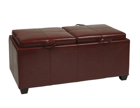 Office Star OSP Designs MET302RD Storage Ottoman in Red - Peazz Furniture