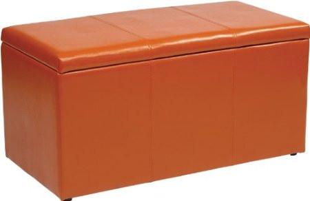 Office Star OSP Designs MET73V-PB18 3 Piece Orange Vinyl Ottoman Set - Peazz Furniture