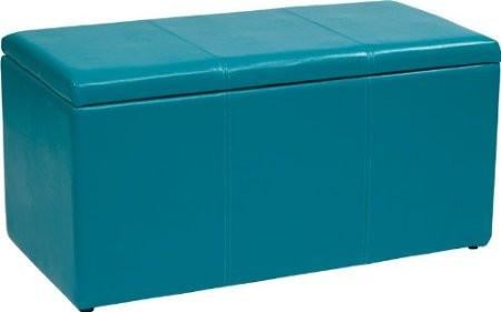 Office Star OSP Designs MET73V-PB7 3 Piece Blue Vinyl Ottoman Set - Peazz Furniture