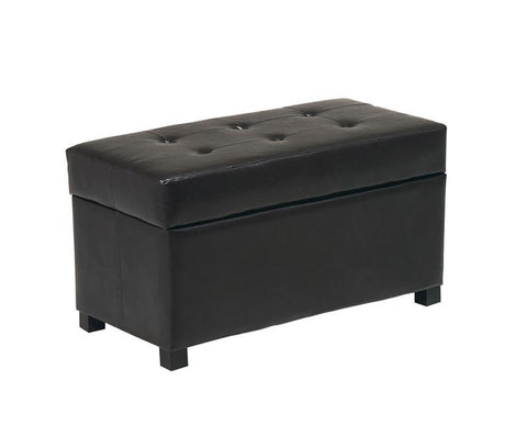 Office Star OSP Designs MET804 Espresso Faux Leather Storage Ottoman - Peazz Furniture