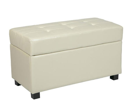 Office Star OSP Designs MET804CM Cream Faux Leather Storage Ottoman - Peazz Furniture