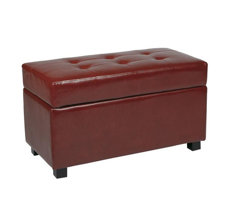 Office Star OSP Designs MET804RD Crimson Red Faux Leather Storage Ottoman - Peazz Furniture