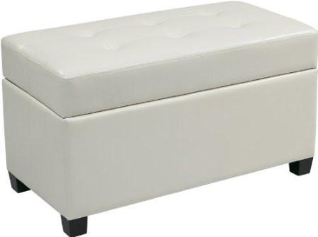Office Star OSP Designs MET804V-PB11 Vinyl Storage Ottoman in White - Peazz Furniture