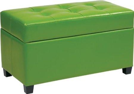 Office Star OSP Designs MET804V-PB6 Vinyl Storage Ottoman in Green - Peazz Furniture
