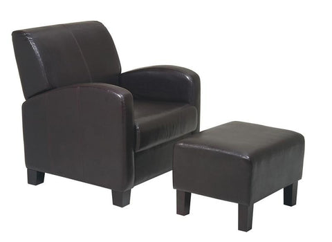 Office Star OSP Designs MET807 Espresso Faux Leather Club Chair with Ottoman - Peazz Furniture
