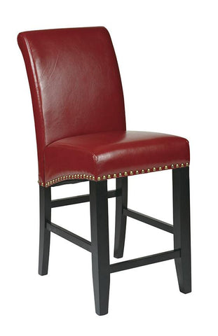 "Office Star OSP Designs MET8724RD 24"" Parsons Barstool - Peazz Furniture"