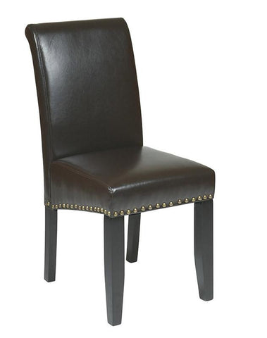 Office Star OSP Designs MET87ES Espresso Eco Leather Parsons Chair - Peazz Furniture