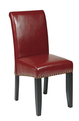 Office Star OSP Designs MET87RD Crimson Red Eco Leather Parsons Chair - Peazz Furniture