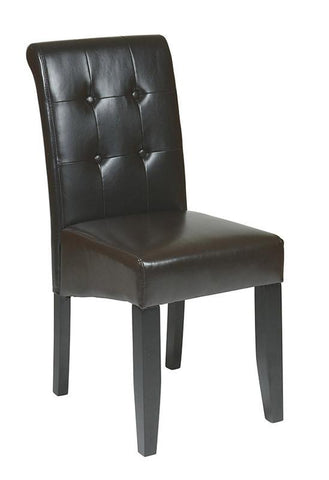 Office Star OSP Designs MET88ES Espresso Eco Leather Parsons Chair - Peazz Furniture