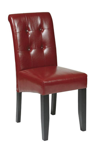 Office Star OSP Designs MET88RD Crimson Red Eco Leather Parsons Chair - Peazz Furniture