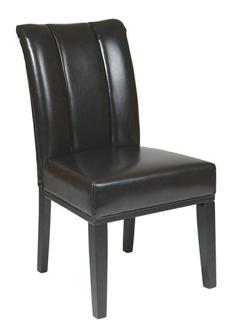 Office Star OSP Designs MET89ES Espresso Eco Leather Parsons Chair - Peazz Furniture