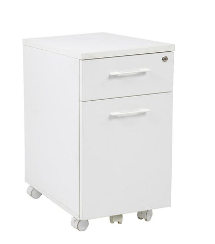 Office Star Pro-Line II PRD3085-WH Prado Mobile File in White with Hidden Drawer and Castors - Peazz Furniture