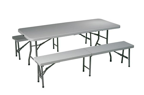 Office Star Work Smart QT3965 3 Piece Folding Table and Bench Set - Peazz Furniture