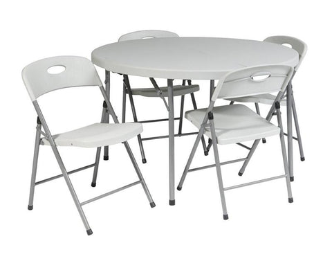"Office Star Work Smart QT6173-05 5 Piece Folding Set (4 chairs and 48"" Round fold in half table) - Peazz Furniture"
