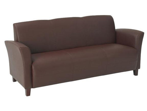 Office Star OSP Furniture SL2273EC9 Mocha Eco Leather Sofa with Cherry Finish Legs. Rated for 675 lbs of distributed weight. Shipped Semi K/D. - Peazz Furniture