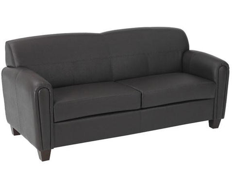 Office Star OSP Furniture SL2573U1 Pillar - Espresso Faux Leather Sofa with Cherry Finish Legs. Shipped Assembled with Legs Unmounted. Rated for 675 lbs of distributed weight. - Peazz Furniture