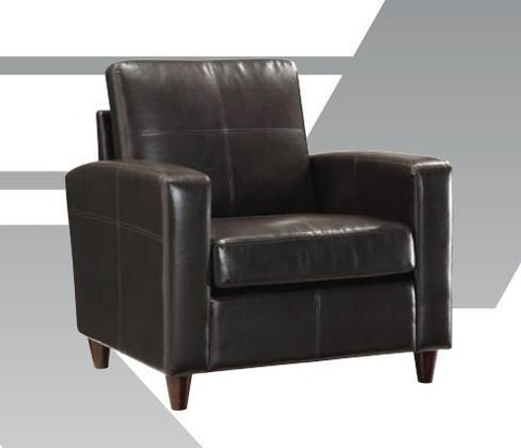 Office Star OSP Furniture SL2811-EC3 Black Eco Leather Club Chair with Espresso Finish Legs - Peazz Furniture