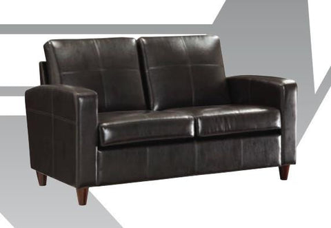Office Star OSP Furniture SL2812-EC3 Black Eco Leather Loveseat with Espresso Finish Legs - Peazz Furniture