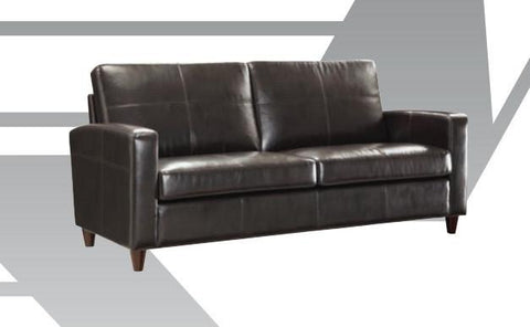 Office Star OSP Furniture SL2813-EC3 Black Eco Leather Sofa with Espresso Finish Legs - Peazz Furniture