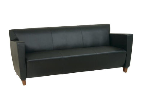 Office Star OSP Furniture SL8473 Black Leather Sofa with Cherry Finish. Shipped Assembled with Legs Unmounted. Rated for 675 lbs. of distributed weight. - Peazz Furniture