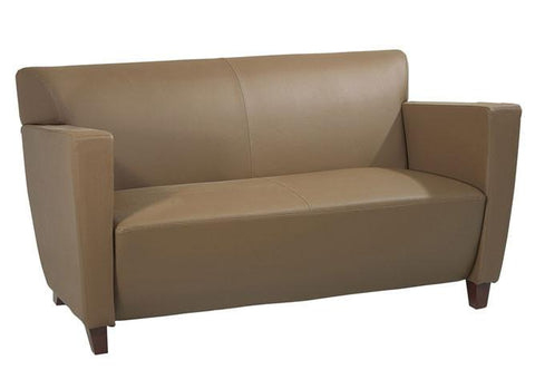 Office Star OSP Furniture SL8872 Taupe Leather Love Seat with Cherry Finish. Shipped Assembled with Legs Unmounted. Rated for 500 lbs. of distributed weight. - Peazz Furniture