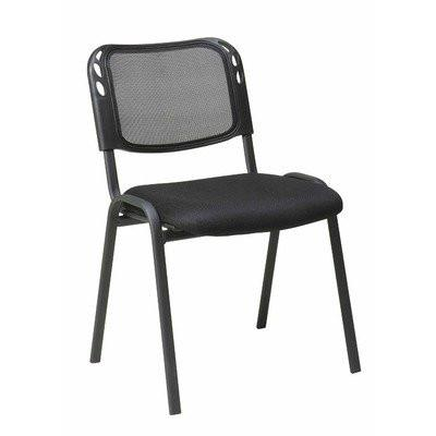 Office Star Work Smart STC2020A2-3 Armless Stacking Chair with Black Mesh Screen Back, Mesh Seat and Black Frame (2PK) - Peazz Furniture