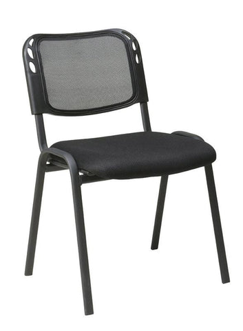 Office Star Work Smart STC2020A4-3 Armless Stacking Chair with Black Mesh Screen Back, Mesh Seat and Black Frame (4PK) - Peazz Furniture