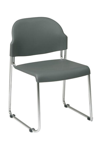 Office Star Work Smart STC3030-2 4 Pack Stack Chair with Plastic Seat and Back - Peazz Furniture