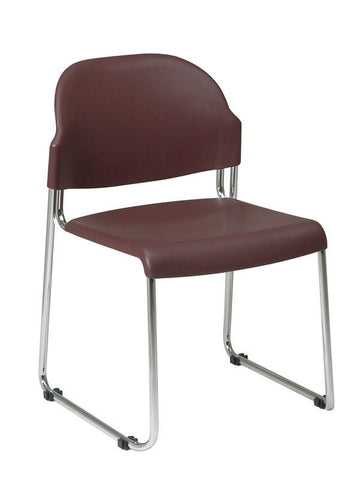 Office Star Work Smart STC3030-4 4 Pack Stack Chair with Plastic Seat and Back - Peazz Furniture