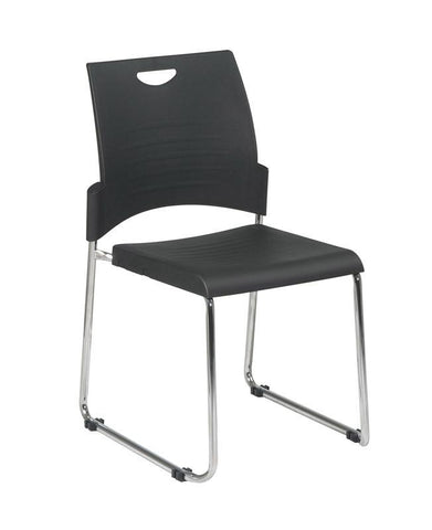 Office Star Work Smart STC8302C4-3 Straight Leg Stack Chair with Plastic Seat and Back. Black. 4 Pack. - Peazz Furniture