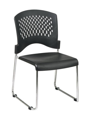 Office Star Work Smart STC865C4-3 Sled Base Stack Chair with Plastic Seat and Back. 4 Pack. - Peazz Furniture