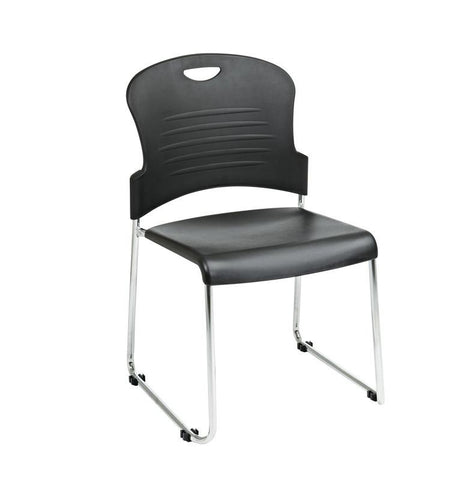 Office Star Work Smart STC866C2-3 Black Stack Chair with Sled Base with Plastic Seat and Back. Black. 2-Pack. - Peazz Furniture