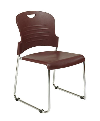 Office Star Work Smart STC866C2-4 Black Stack Chair with Sled Base with Plastic Seat and Back. Burgundy. 2-Pack. - Peazz Furniture