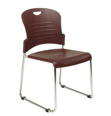 Office Star Work Smart STC866C4-3 Burgundy Stack Chair with Sled Base with Plastic Seat and Back. Black. 4 Pack. - Peazz Furniture