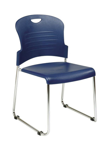Office Star Work Smart STC866C4-7 Navy Stack Chair with Sled Base with Plastic Seat and Back. Navy. 4 Pack. - Peazz Furniture
