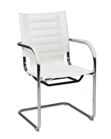 Office Star Ave Six TND945A-WH Trinidad Guest Chair in White Vinyl - Peazz Furniture