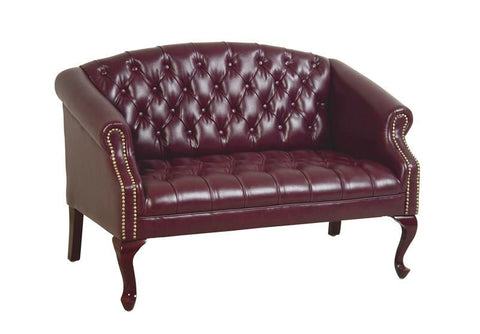 Office Star Work Smart TSX1123-JT4 Queen Ann Traditional Ox Blood Sofa - Peazz Furniture