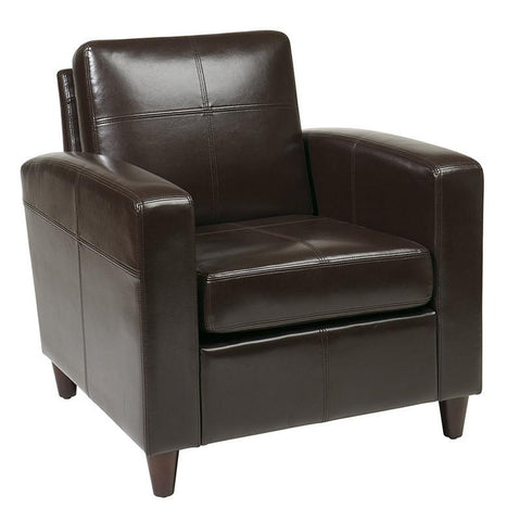 Office Star Ave Six VNS51A-EBD Venus Club Chair (Tool-Less Assembly) in Espresso Eco Leather - Peazz Furniture