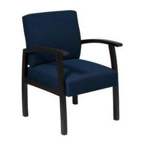 Office Star Work Smart WD1358-317 Deluxe Espresso Finish Guest Chair. Mid Blue Fabric - Peazz Furniture
