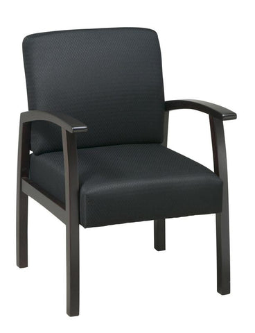 Office Star Work Smart WD1358-363 Deluxe Espresso Finish Guest Chair. Black Triangle Fabric - Peazz Furniture