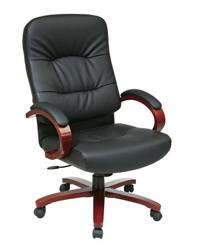 Office Star Work Smart WD5670-EC3 Eco Leather High Back Chair with Cherry Finish Wood Base and Arms - Peazz Furniture