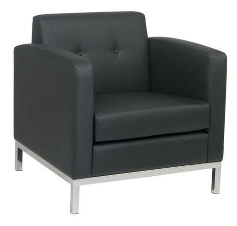 Office Star Ave Six WST51A-B18 Wall Street Arm Chair in Black Faux Leather - Peazz Furniture