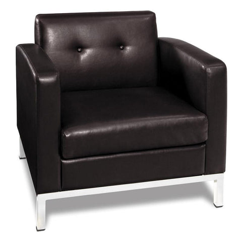 Office Star Ave Six WST51A-E34 Wall Street Arm Chair in Espresso Faux Leather - Peazz Furniture