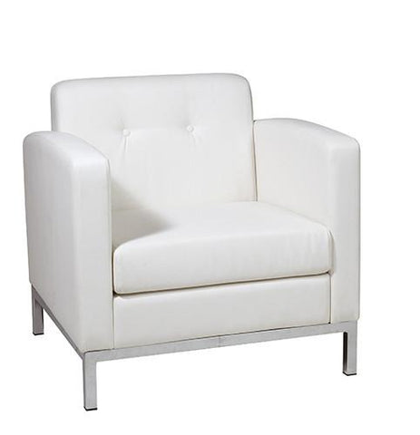 Office Star Ave Six WST51A-W32 Wall Street Arm Chair in White Faux Leather - Peazz Furniture